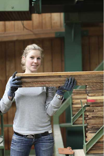 woman working in wood industry